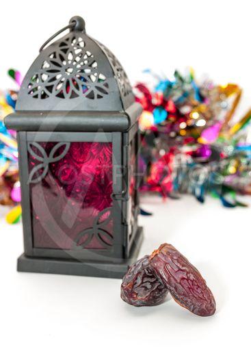 Date fruits and arabic lantern.