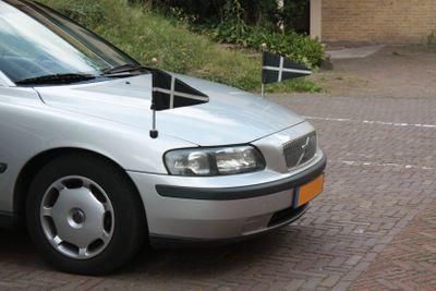 Silver grey Volvo hearse