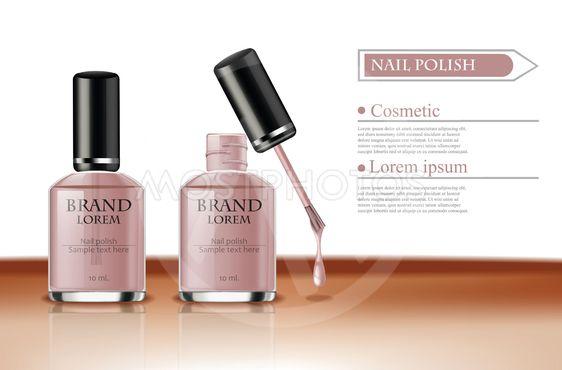 Nail polish Vector realistic packaging. label