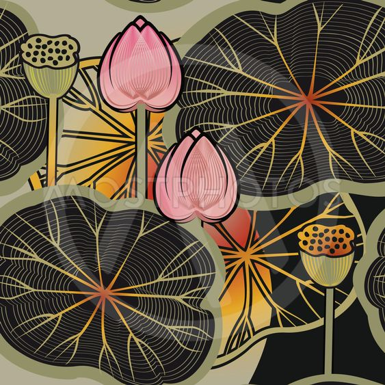 background with a lotus flowers and leaves