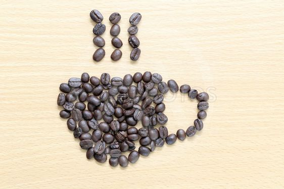 coffee beans Placed in coffee cup shape.