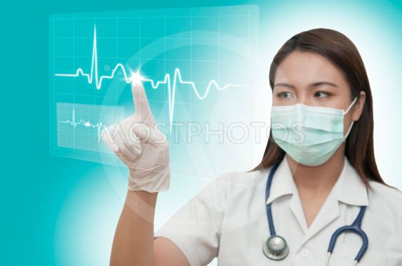 Young doctor working with technology screen  interface