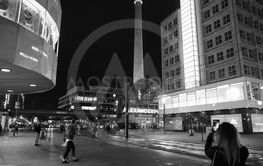 Alexanderplatz in Berlin at night in black and white