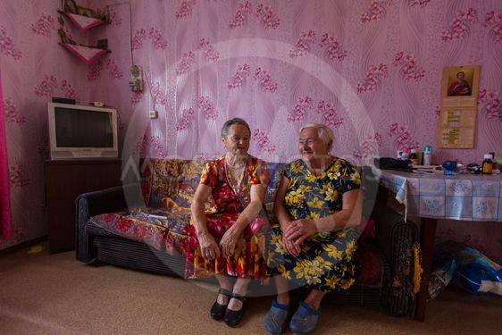 Vepsian locals women in the rural social club.