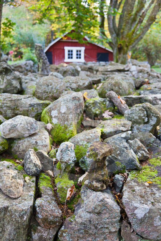 Röd stuga vid en stenmur