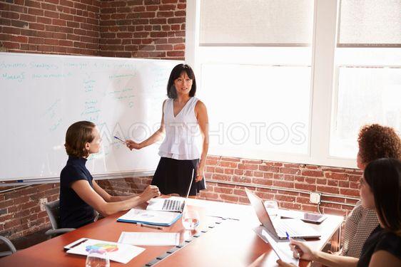 Group Of Businesswomen Meeting In Modern Boardroom