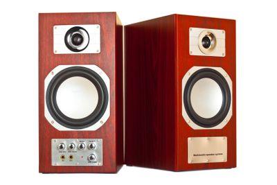 two brown speakers