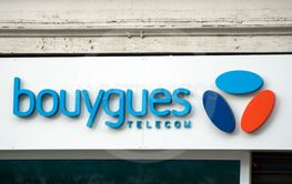 Bouygues telecom logo on store front in the street