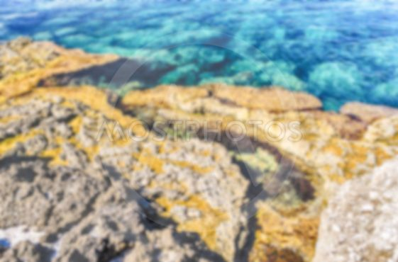 Defocused background with mediterranean beach in Milazzo,...