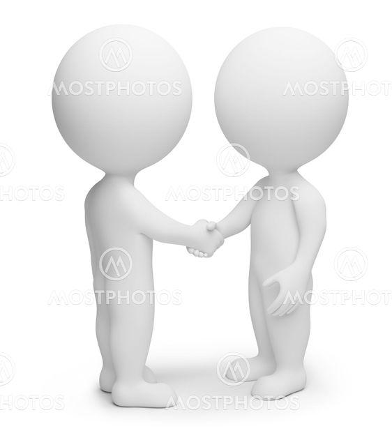 3d small people - handshake