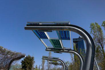 Solar panels in urban furniture in Barcelona, in Spain