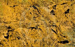 Closeup of rough yellow grunge rock background