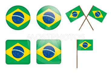 badges with flag of Brazil